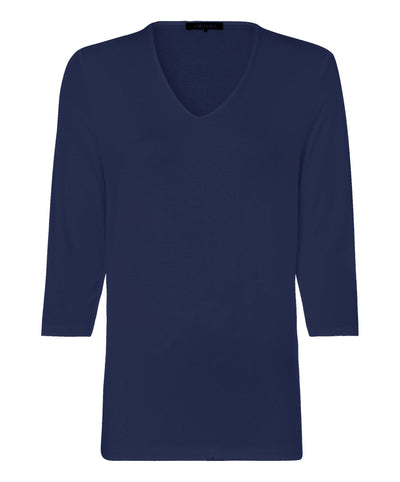 V-Neck T-shirt with 3/4 Sleeve