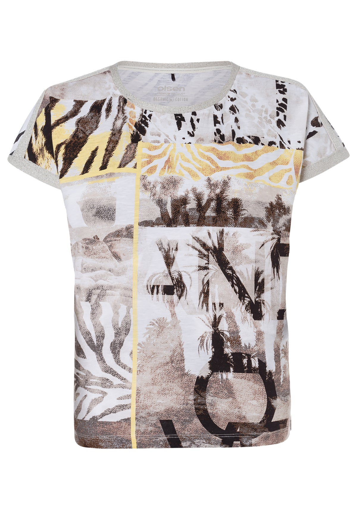 Multi Safari Statement Print Cap Sleeve T-Shirt