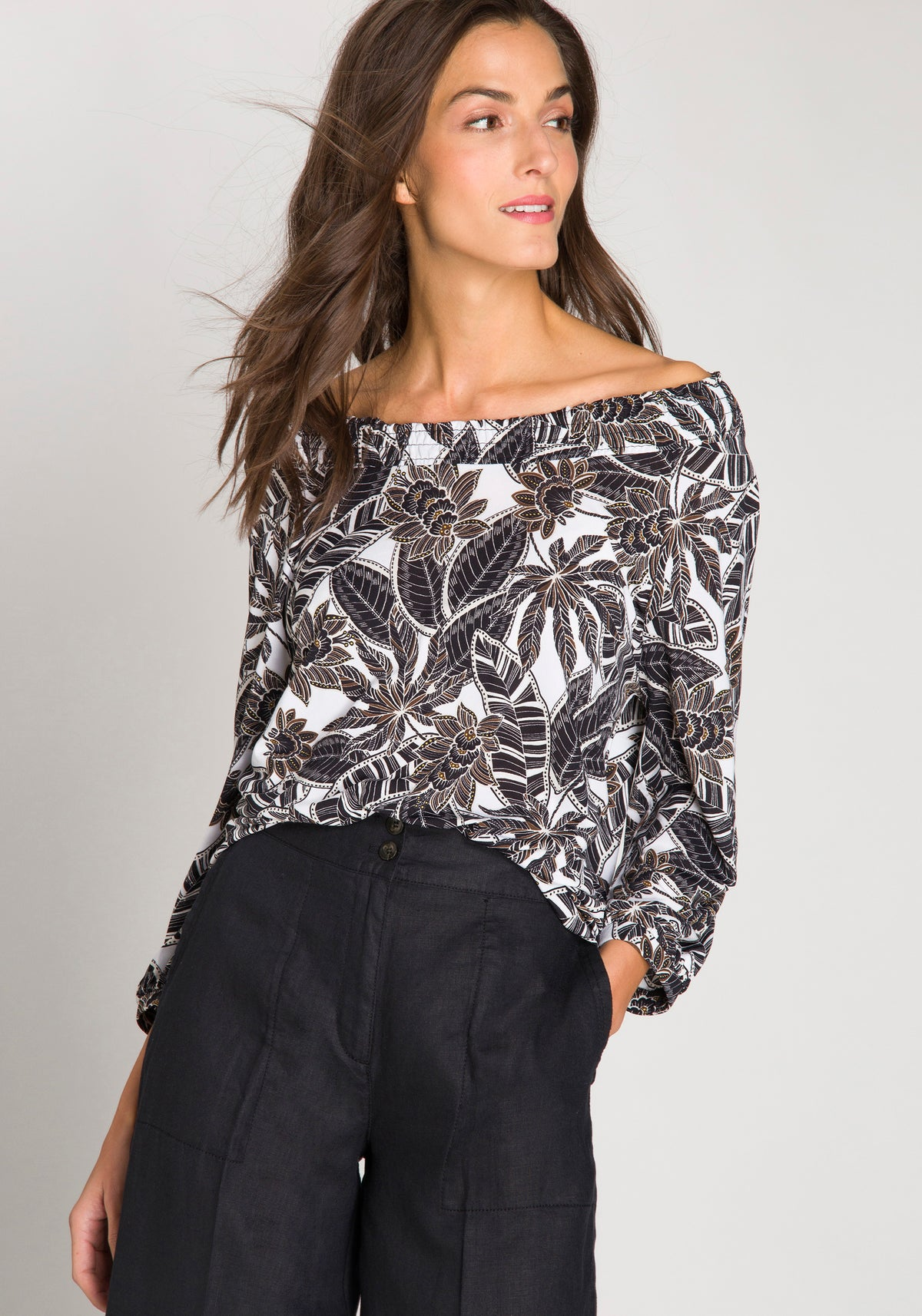 Printed Boat Neck Blouse with Elasticized Neck & Hem