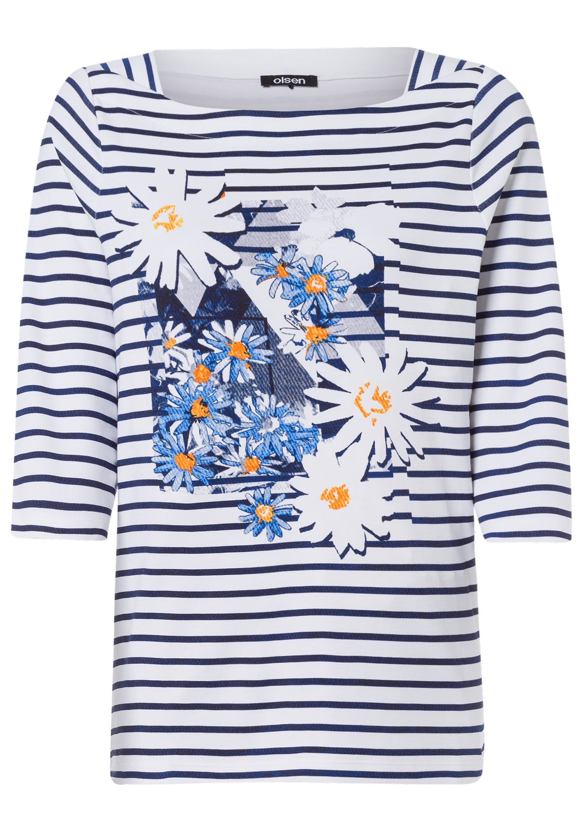 Stripe Boat Neck T-Shirt with Placement Deco Print