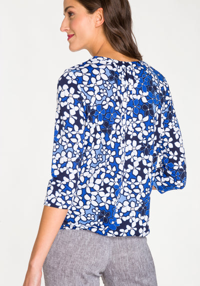 3/4 Sleeve Floral Print Tunic