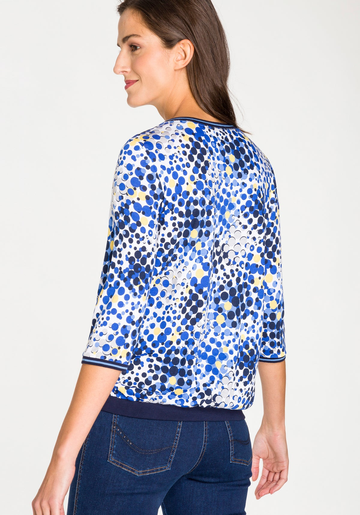 All Over Optic Bloom Print Crewneck Top with Side Tie