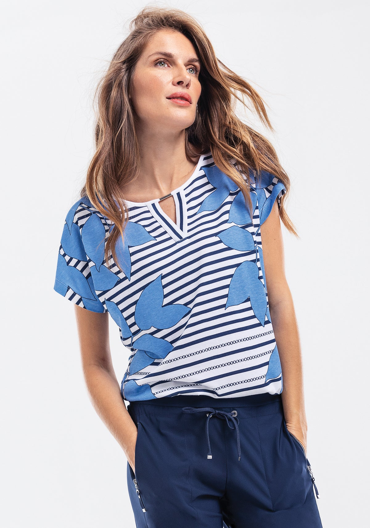 Floral & Stripe Print Short Sleeve T-Shirt