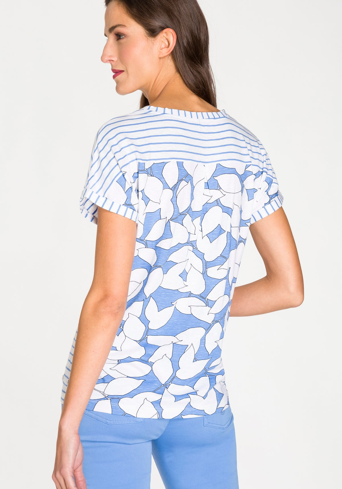 Short Sleeve T-Shirt with Striped Front & Printed Back