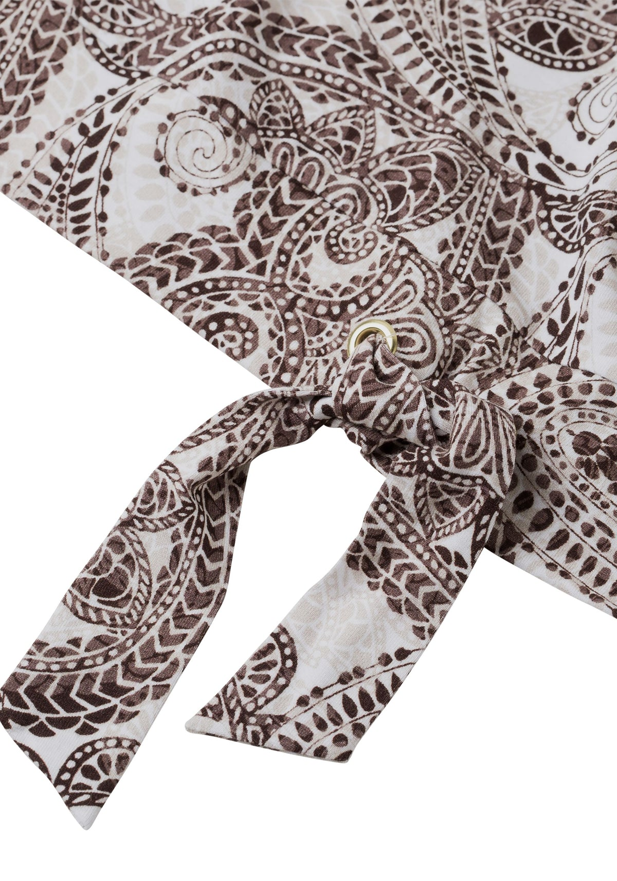 Paisley Print Short Sleeve T-Shirt with Wasitband Tie Detail