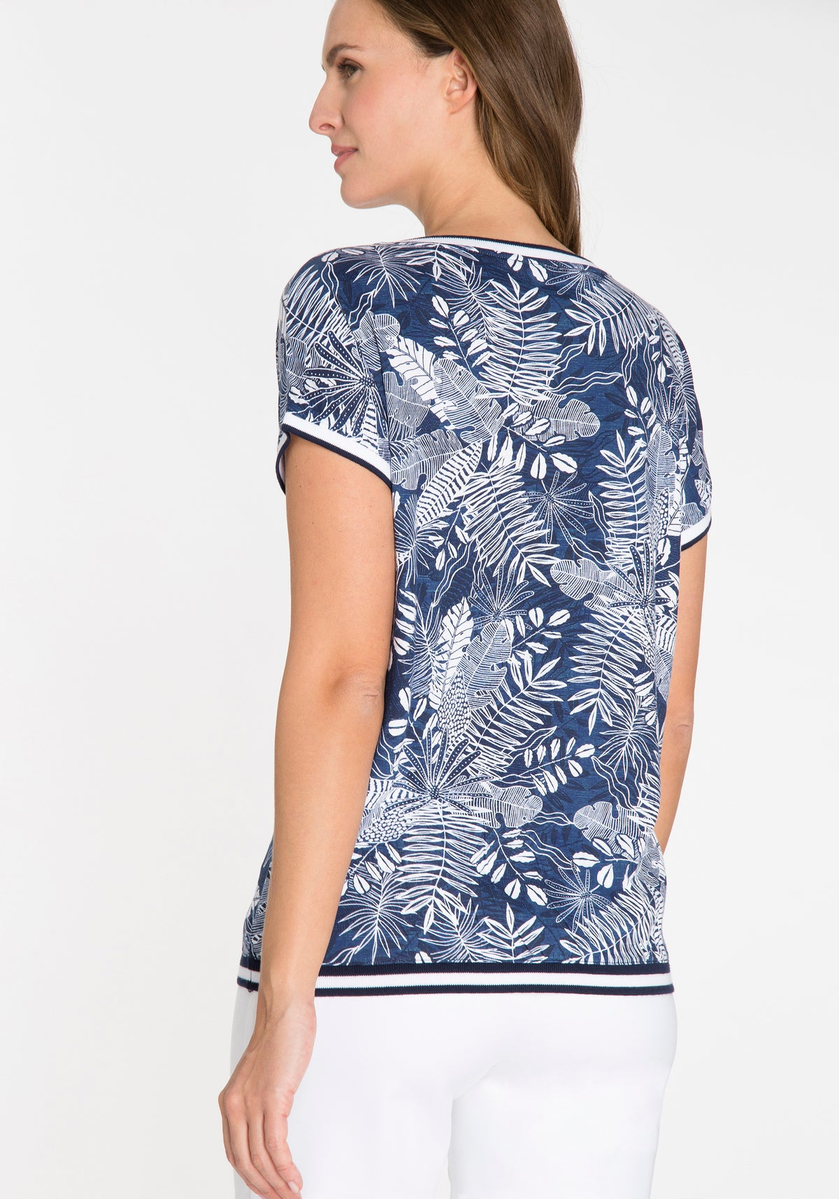 Boatneck Tropical Print Short Sleeve T-Shirt with Stripe Trim