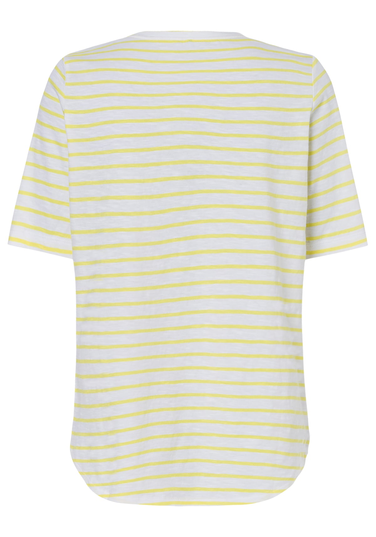 100% Cotton Rounded Hem Stripe T-Shirt with Tropical Overprint & Embroidery