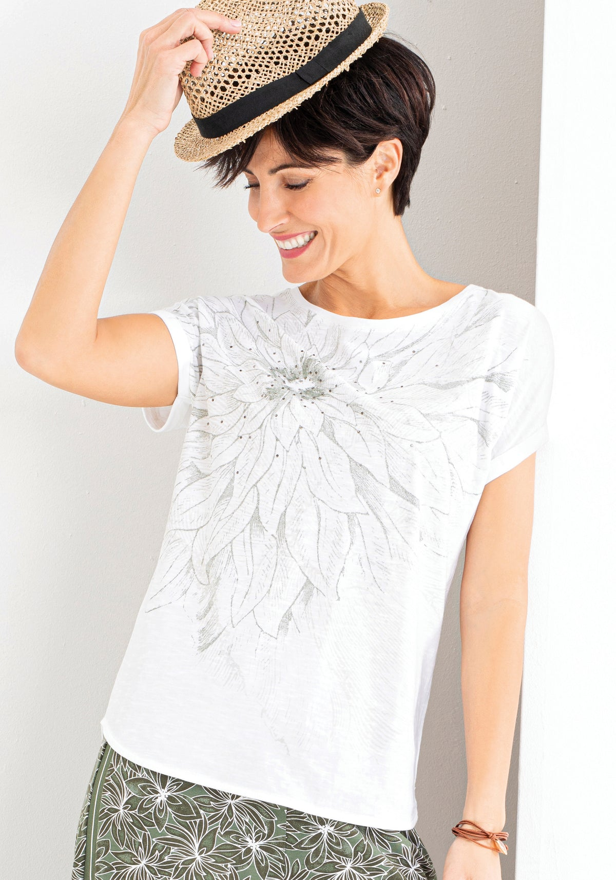100% Cotton Short Sleeve Boat Neck T-Shirt with Artsy Floral Print & Stud Embellishment