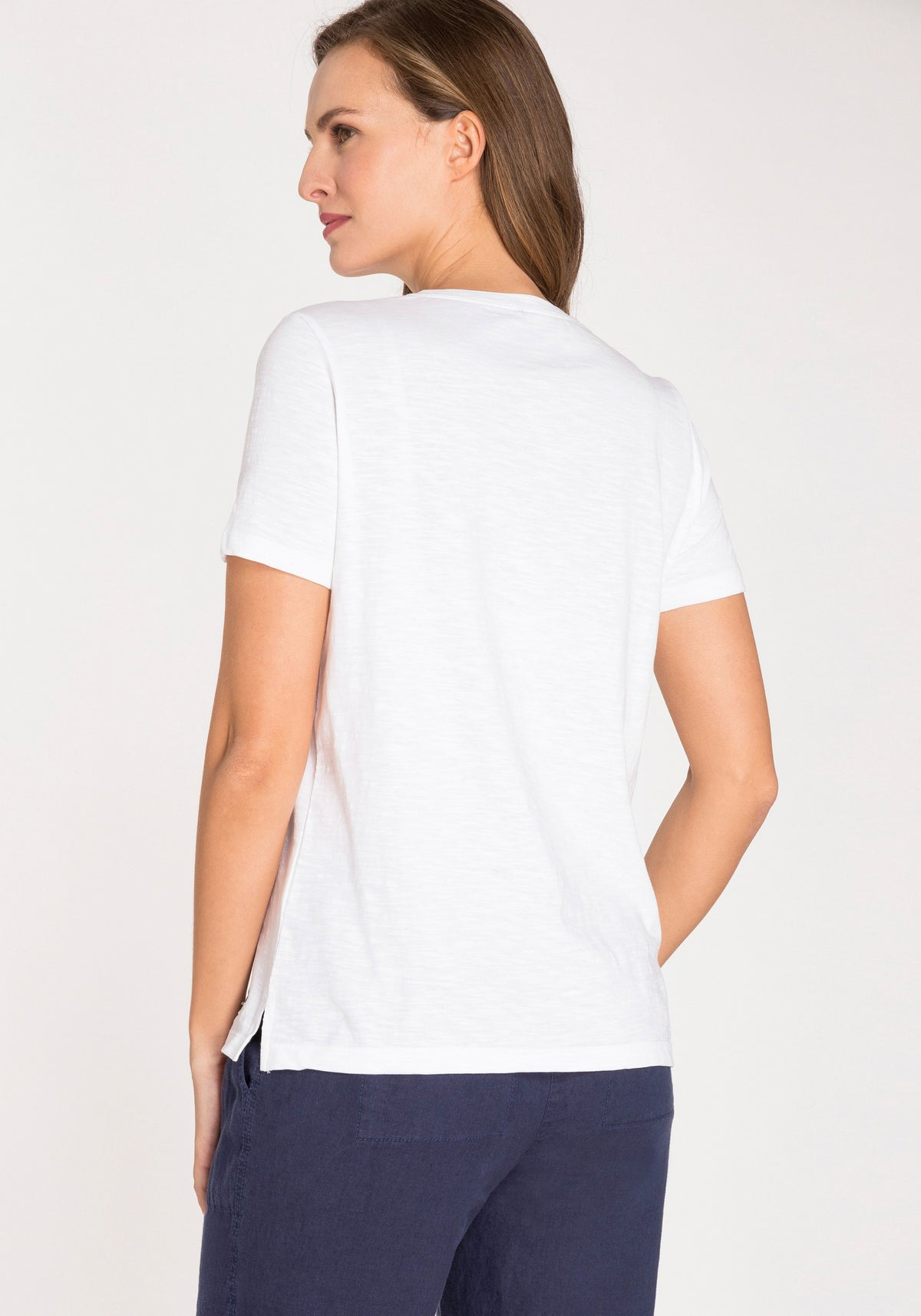 100% Cotton Short Sleeve T-Shirt with Eyelet Trim