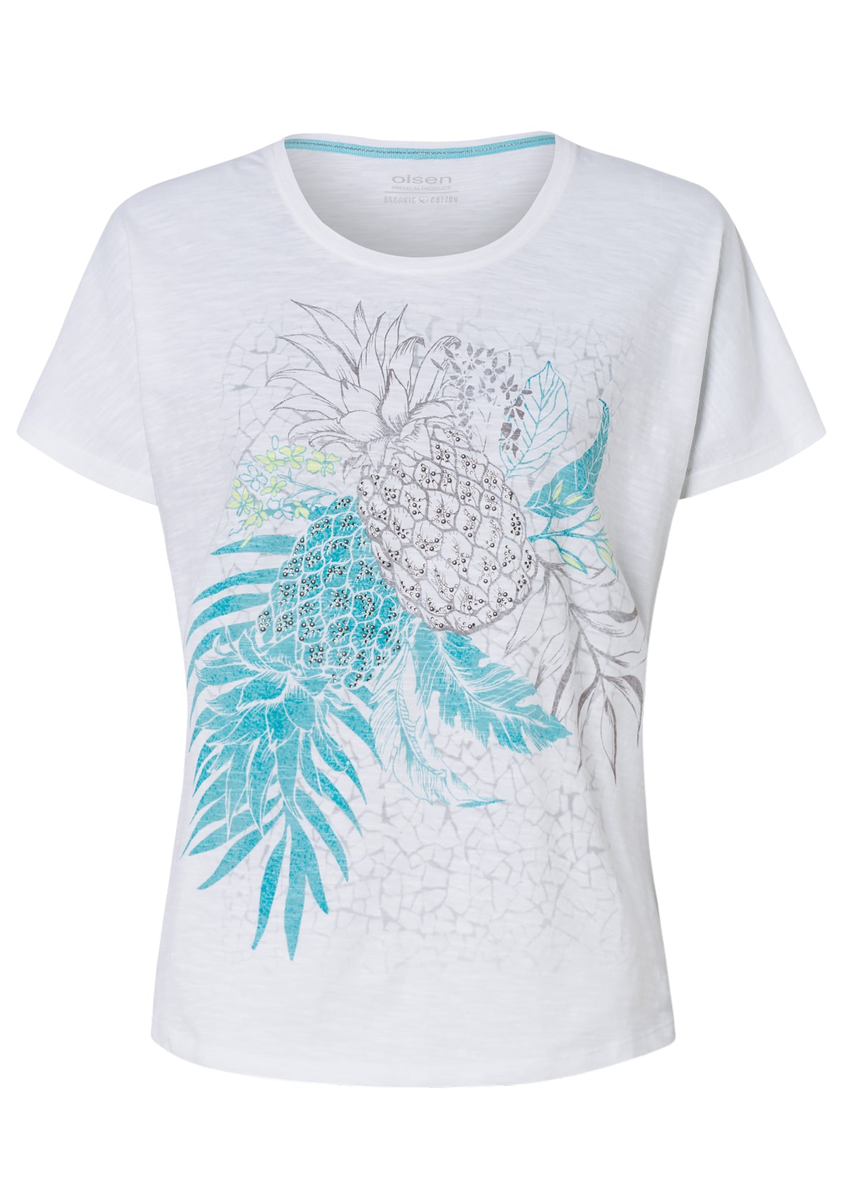 100% Cotton Short Sleeve Crew Neck T-Shirt with Artsy Pineapple Print