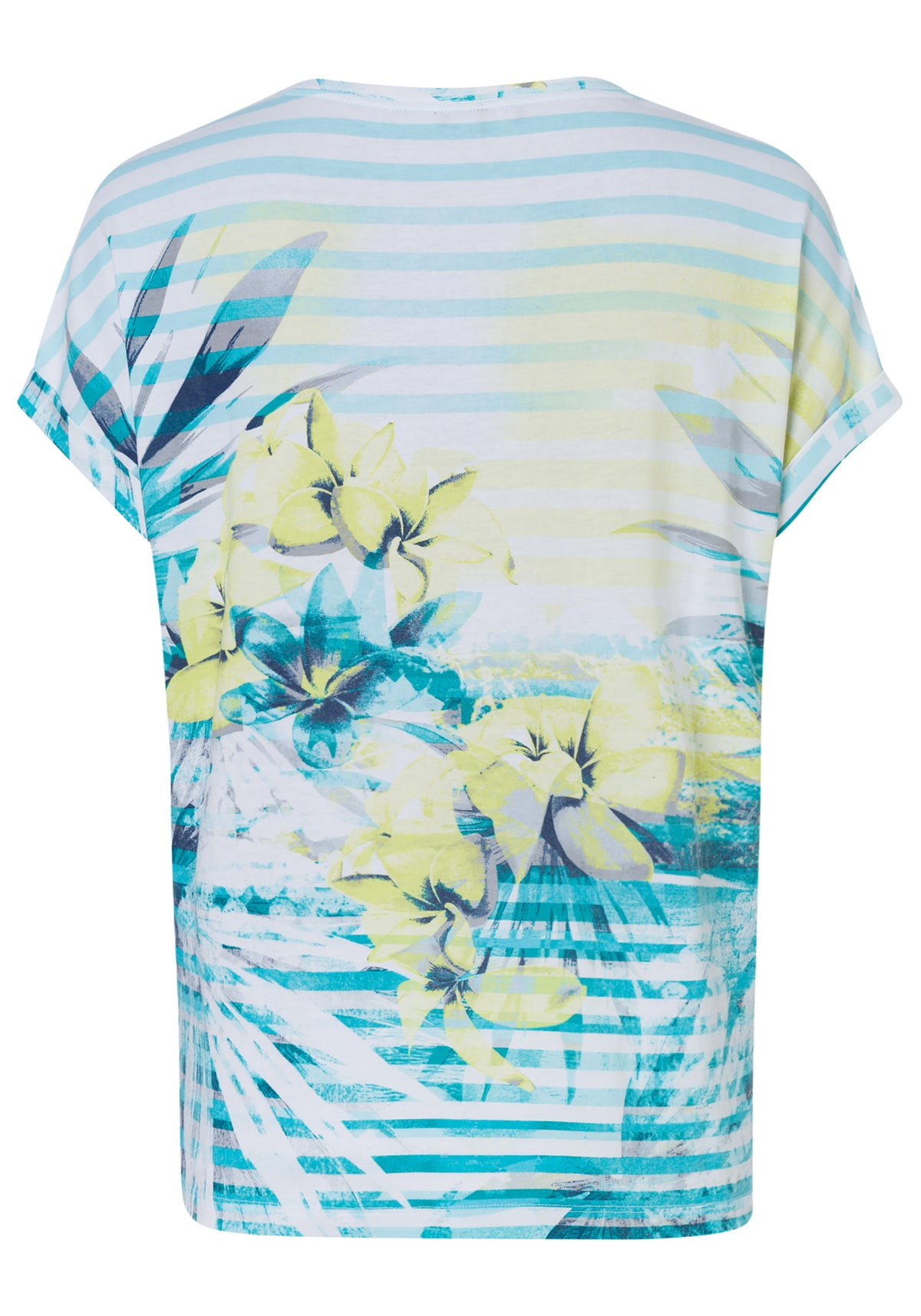 Striped & Hibiscus Allover Print Short Sleeve T-Shirt