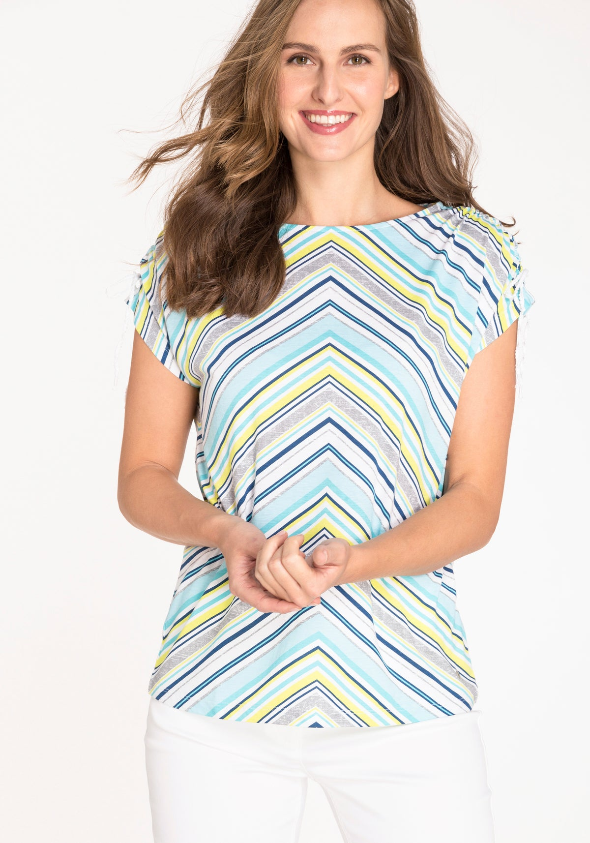 Short Sleeve Boat Neck Chevron Stripe T-Shirt with Shoulder Ruching Detail