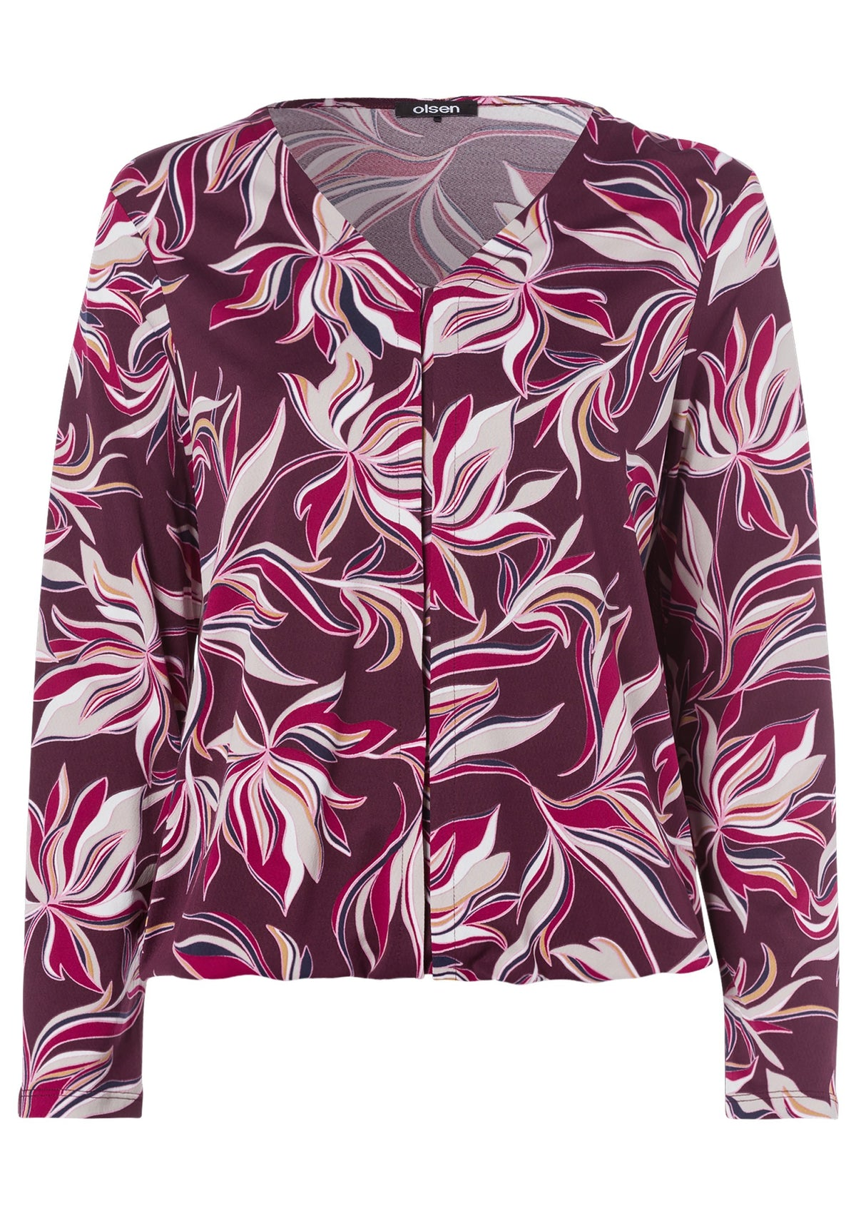 Long Sleeve Abstract Floral Print V-Neck Top with Front Pintuck Detail & Elasticized Hem