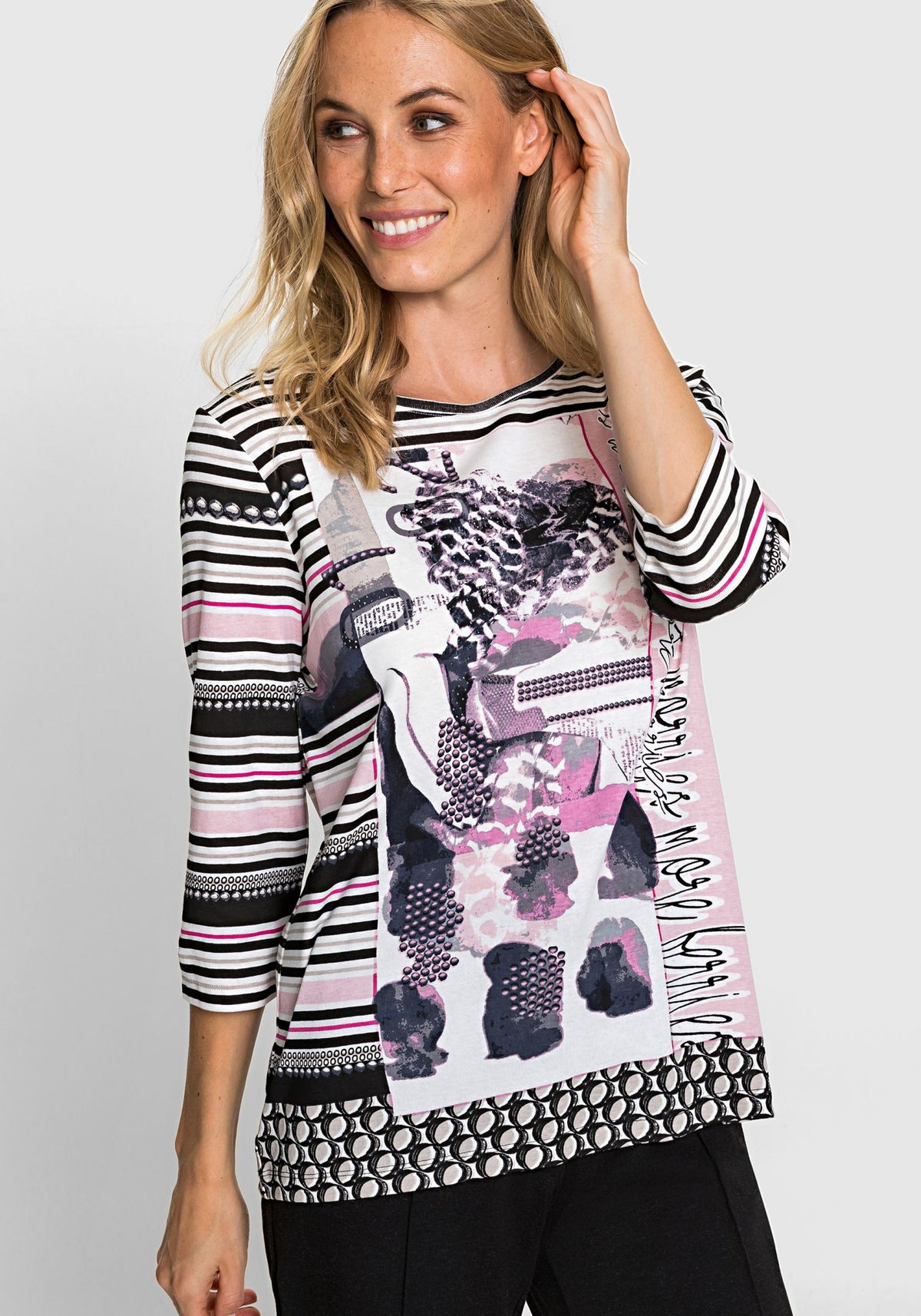 100% Cotton Multi Print T-Shirt with Rhinestone Accents (Hannah Fit)