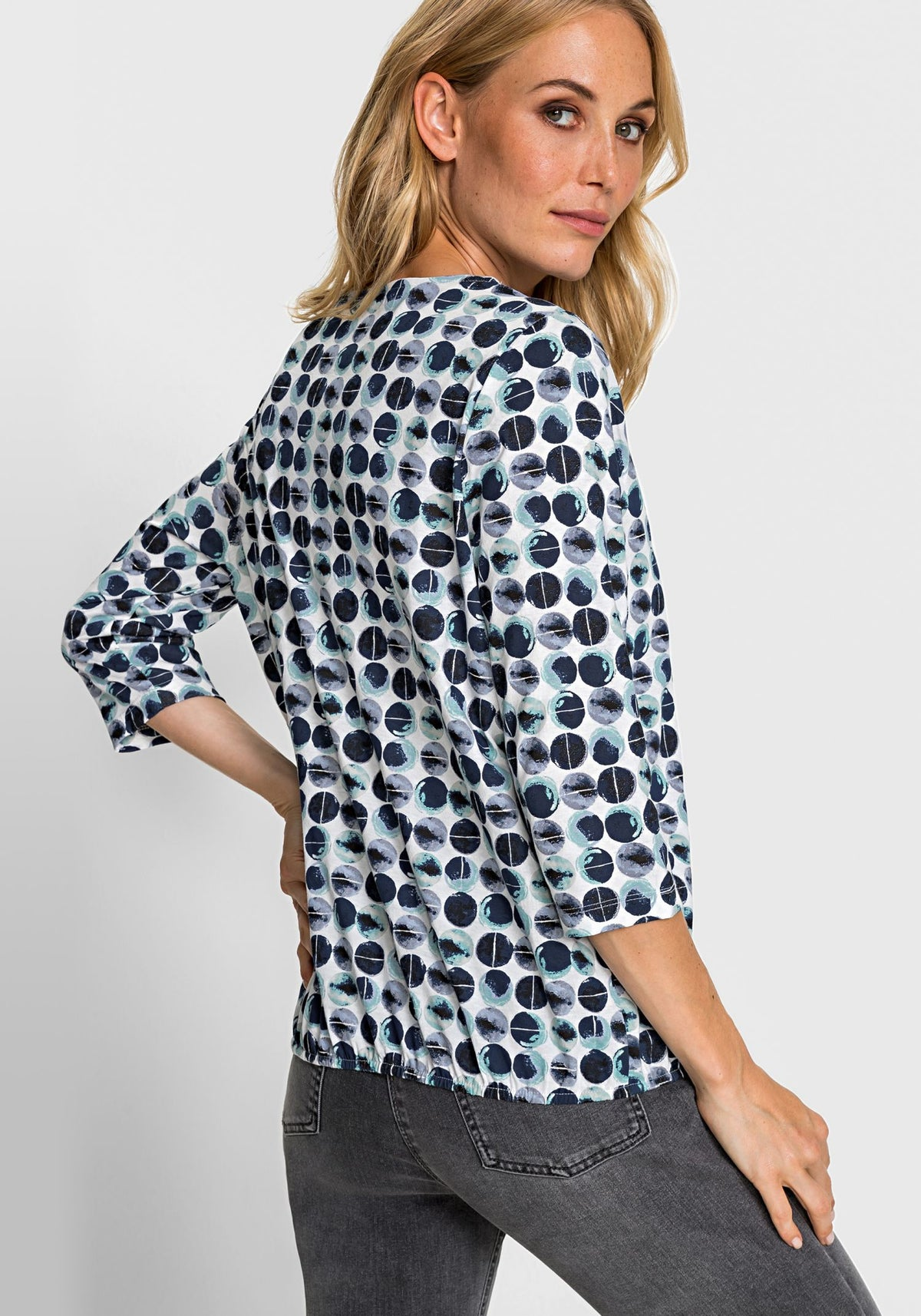 3/4 Sleeve Dot Print Keyhole Neckline T-Shirt with Elastic Hem (Clara Fit)