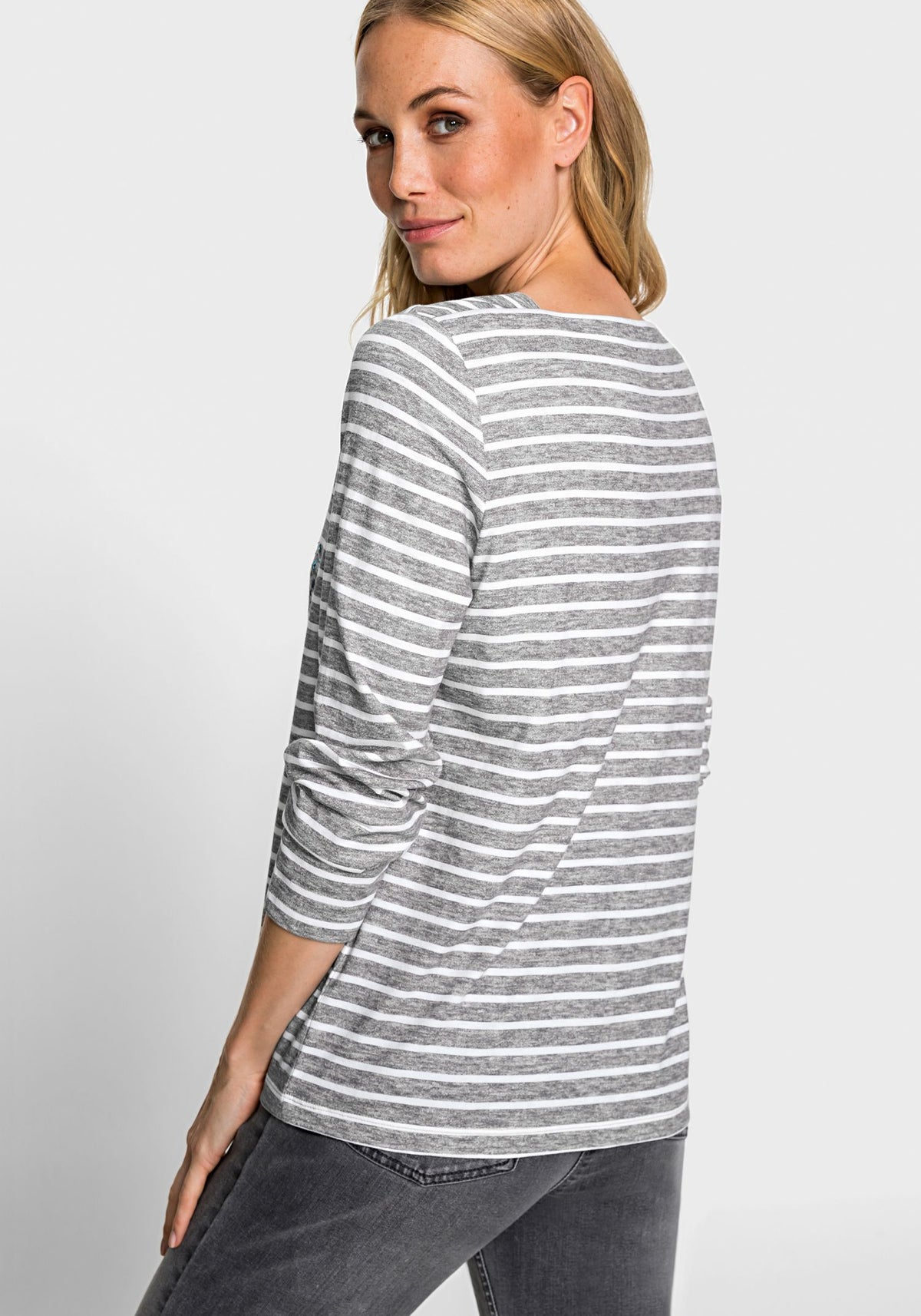 Long Sleeve Striped T-Shirt with Abstract Rhinestone Dandelion Print (Hannah Fit)