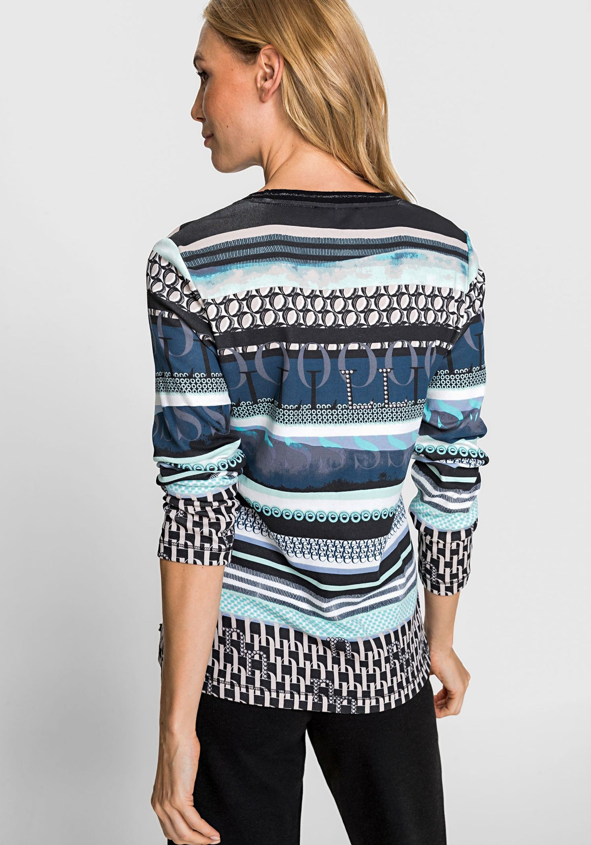 Long Sleeve Round Neck Stripe Olsen Print T-Shirt (Edda Fit)