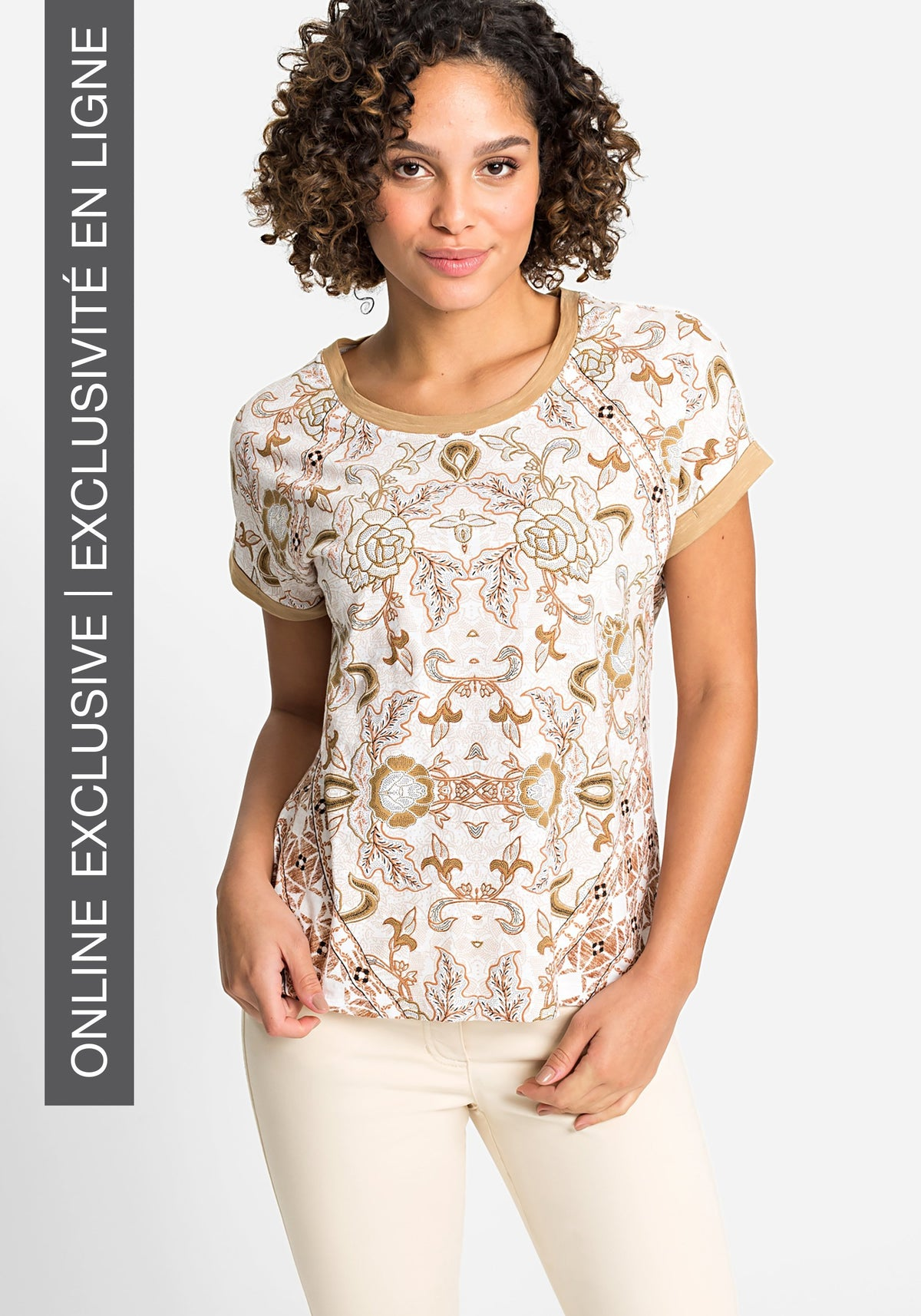 100% Organic Cotton Short Dolman Sleeve Allover Safari Floral T-Shirt with Contrast Stripe