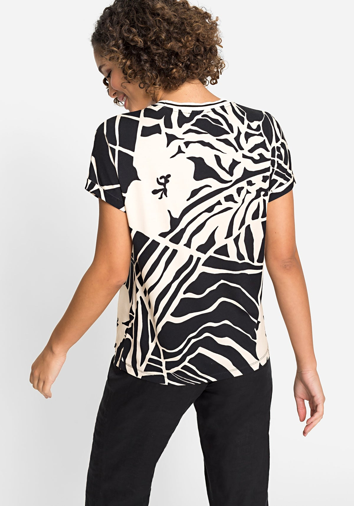 Short Sleeve Large Scale Palm Print T-Shirt with Striped Trim