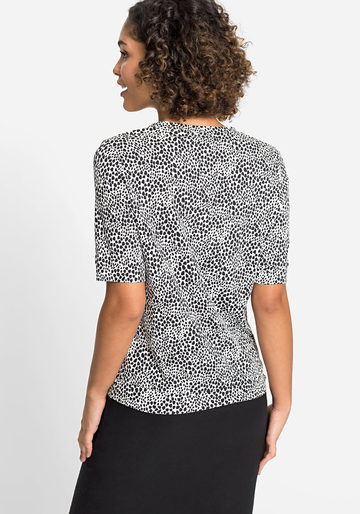 Short Slv Pebble Print V-Neck T-Shirt with Waist Tie