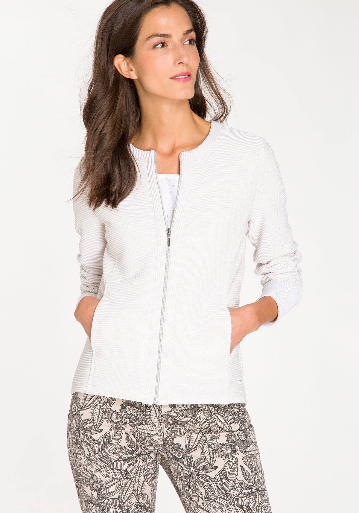 Zip Front Knit Crewneck Cardigan