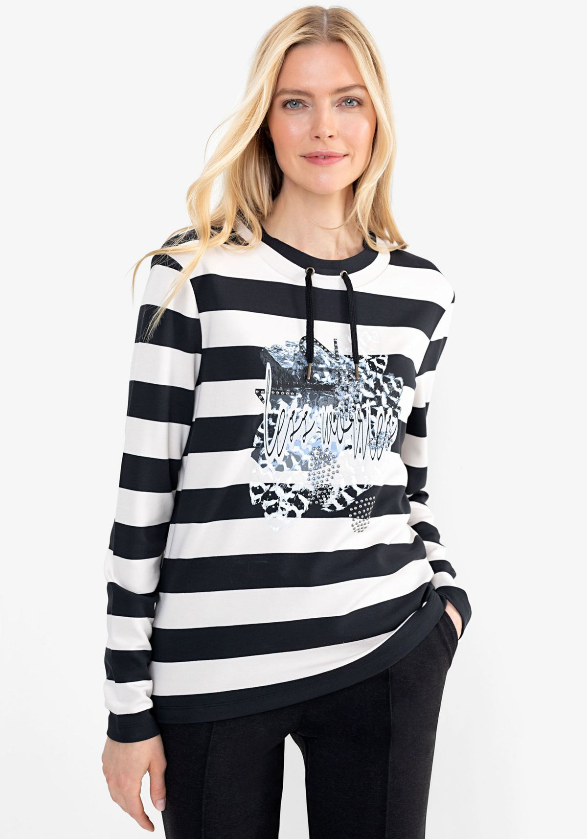 Drawstring Round Neck Jersey Knit Stripe Top with Stud & Rhinestone Deco Print (Henny Fit)