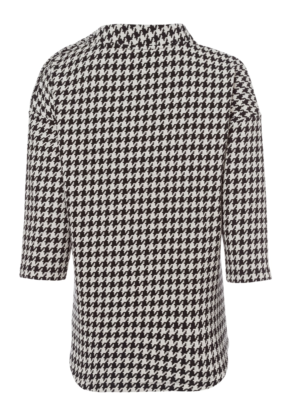 3/4 Sleeve Houndstooth Jersey Knit Top with Functional Shoulder Buttons