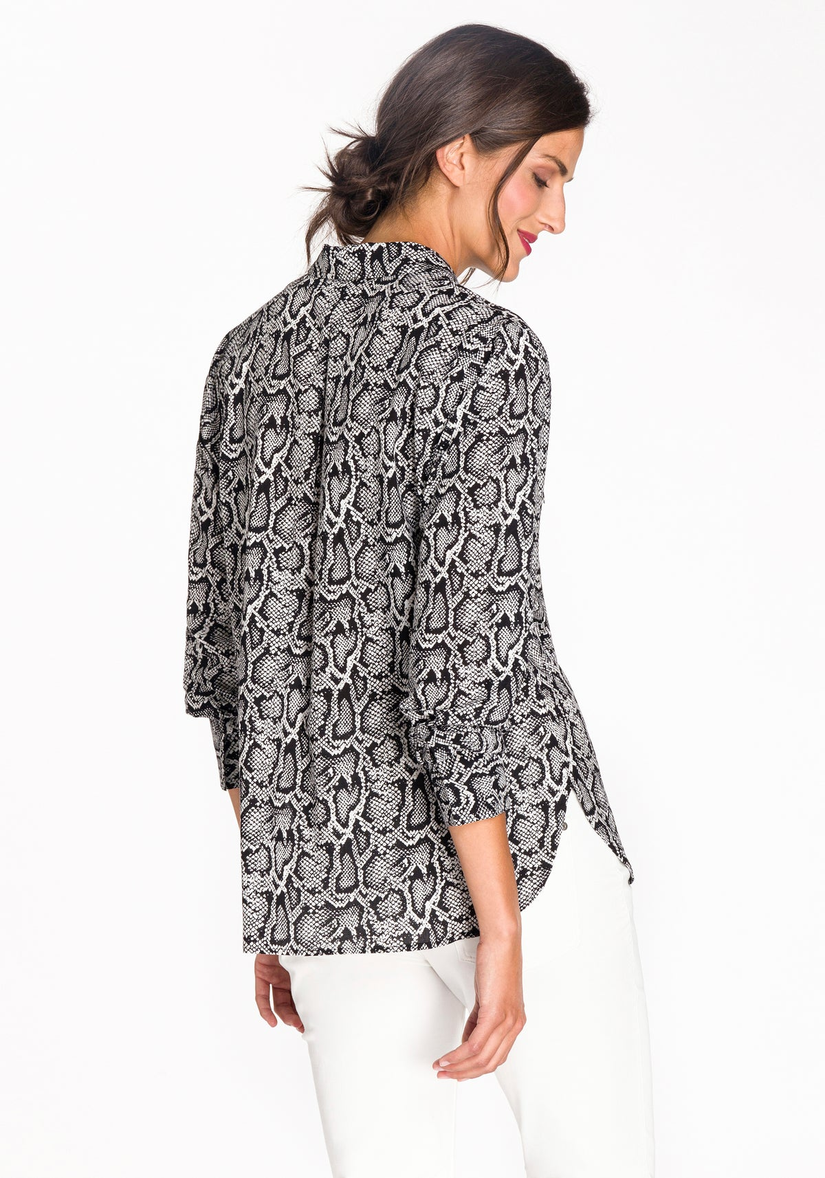 Snake Print Button-Up Blouse