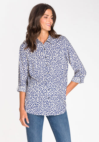 Button-Up Animal Print Blouse