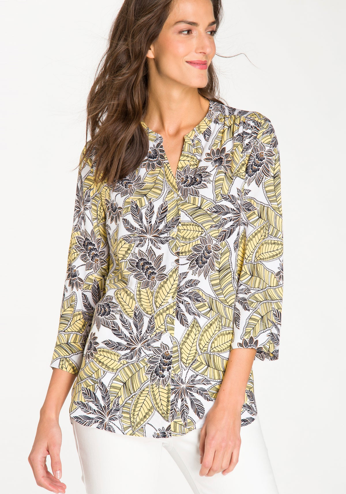Tropical Print 3/4 Sleeve Tunic Blouse