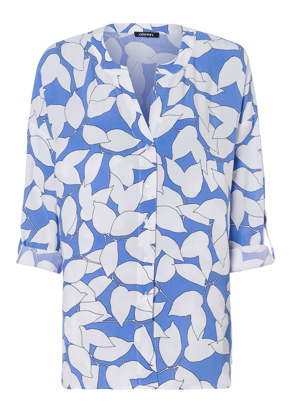 Leaf Print Button Front Tunic Blouse