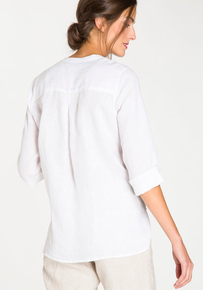 Collarless Linen 3/4 Sleeve Tunic Shirt with Lace Detail