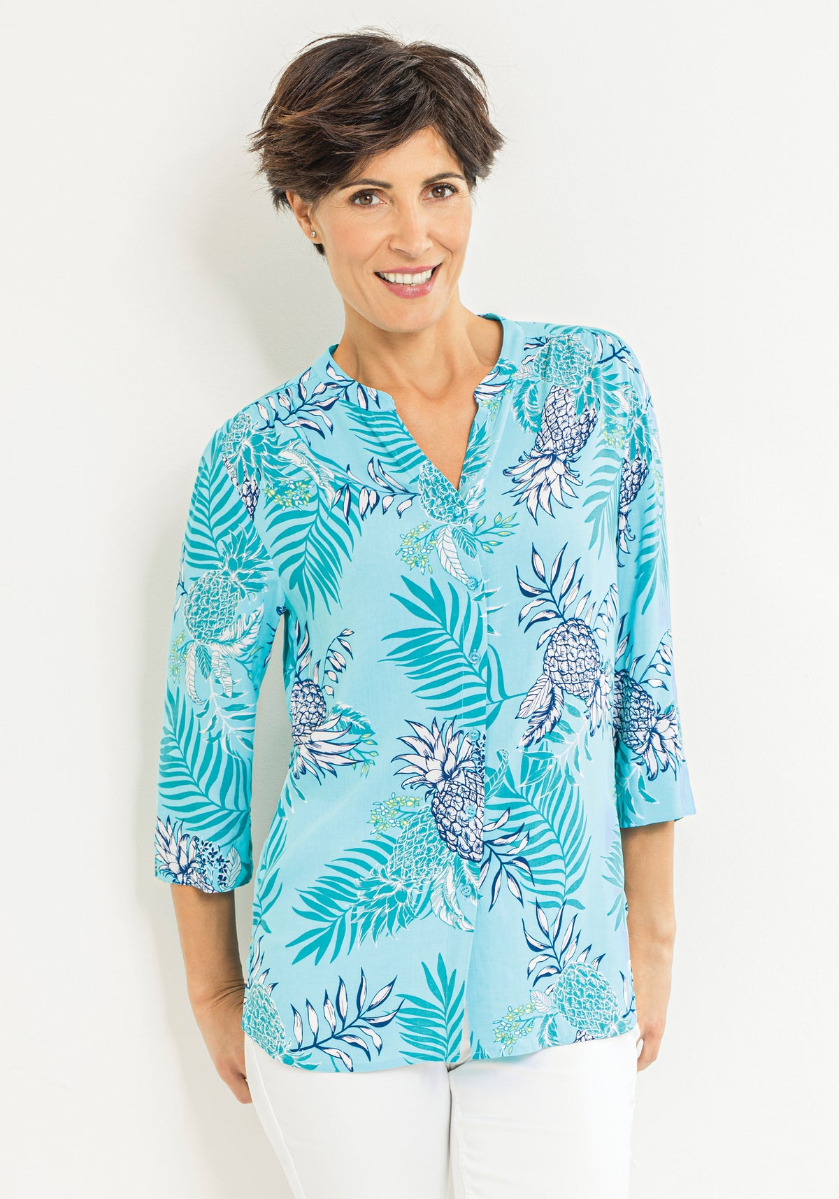 3/4 Sleeve Tropical Print Tunic