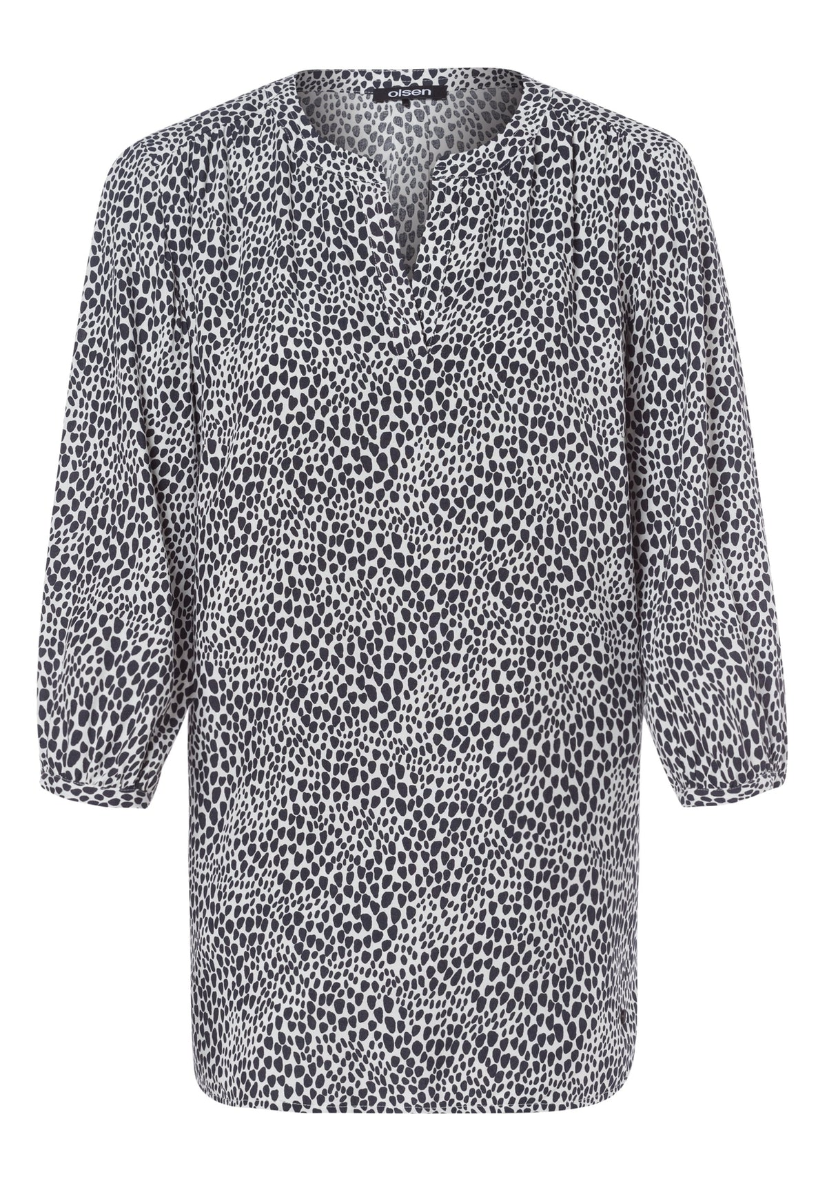 3/4 Sleeve Tunic Neck Allover Print Blouse