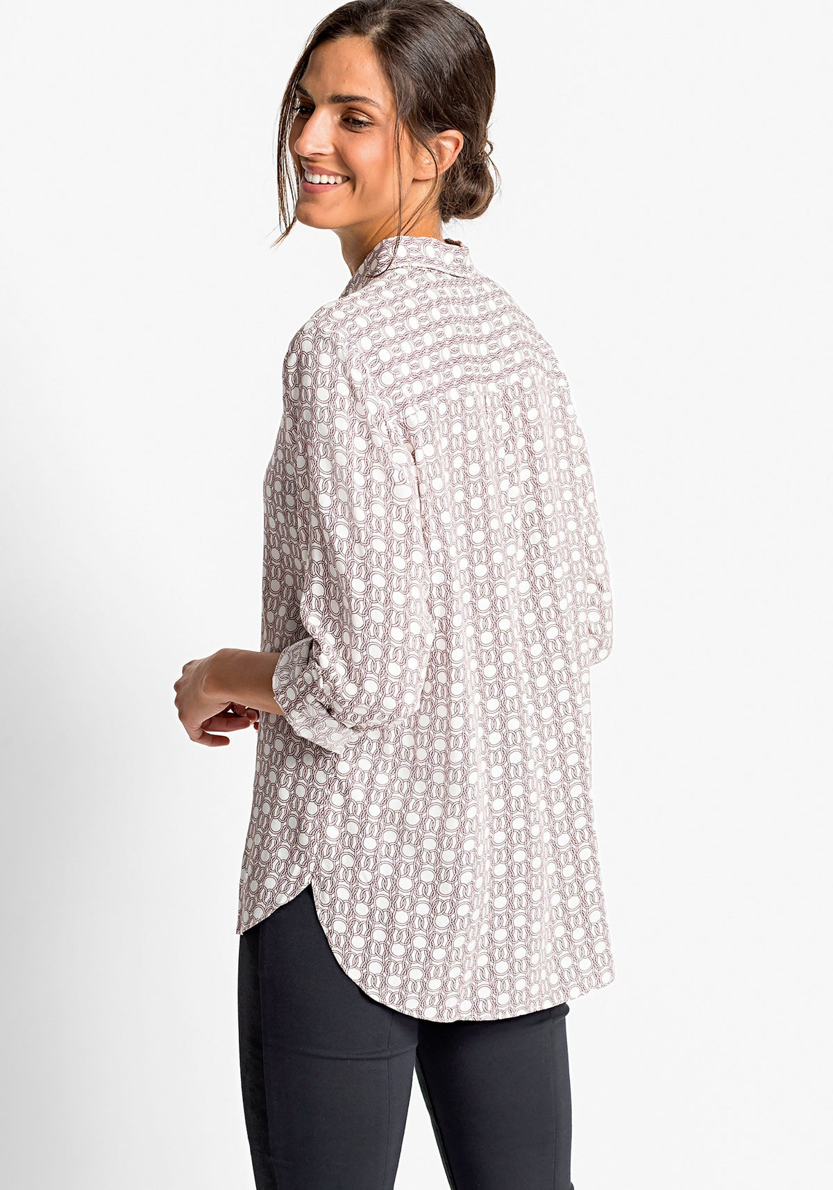 Long Sleeve Link Print Shirt with Rolled Tab Sleeve Detail