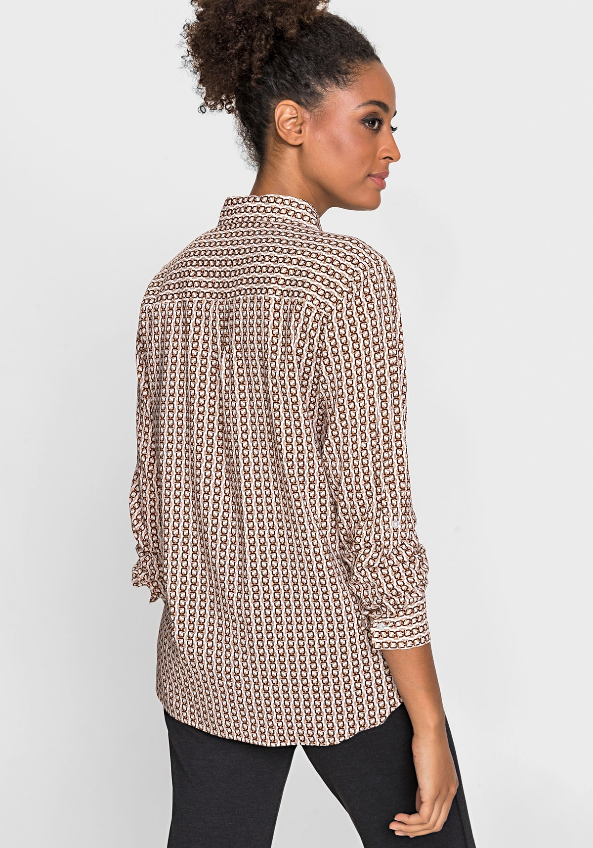 Long Sleeve Chain Stripe Shirt with Roll Tab Sleeve Detail