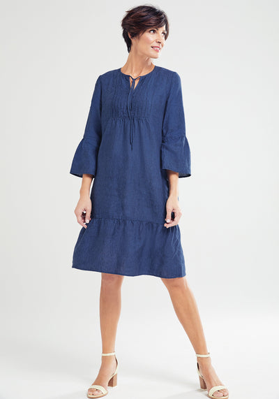100% Linen 3/4 Sleeve Tunic Dress with Pintuck Detail & Bell Sleeve