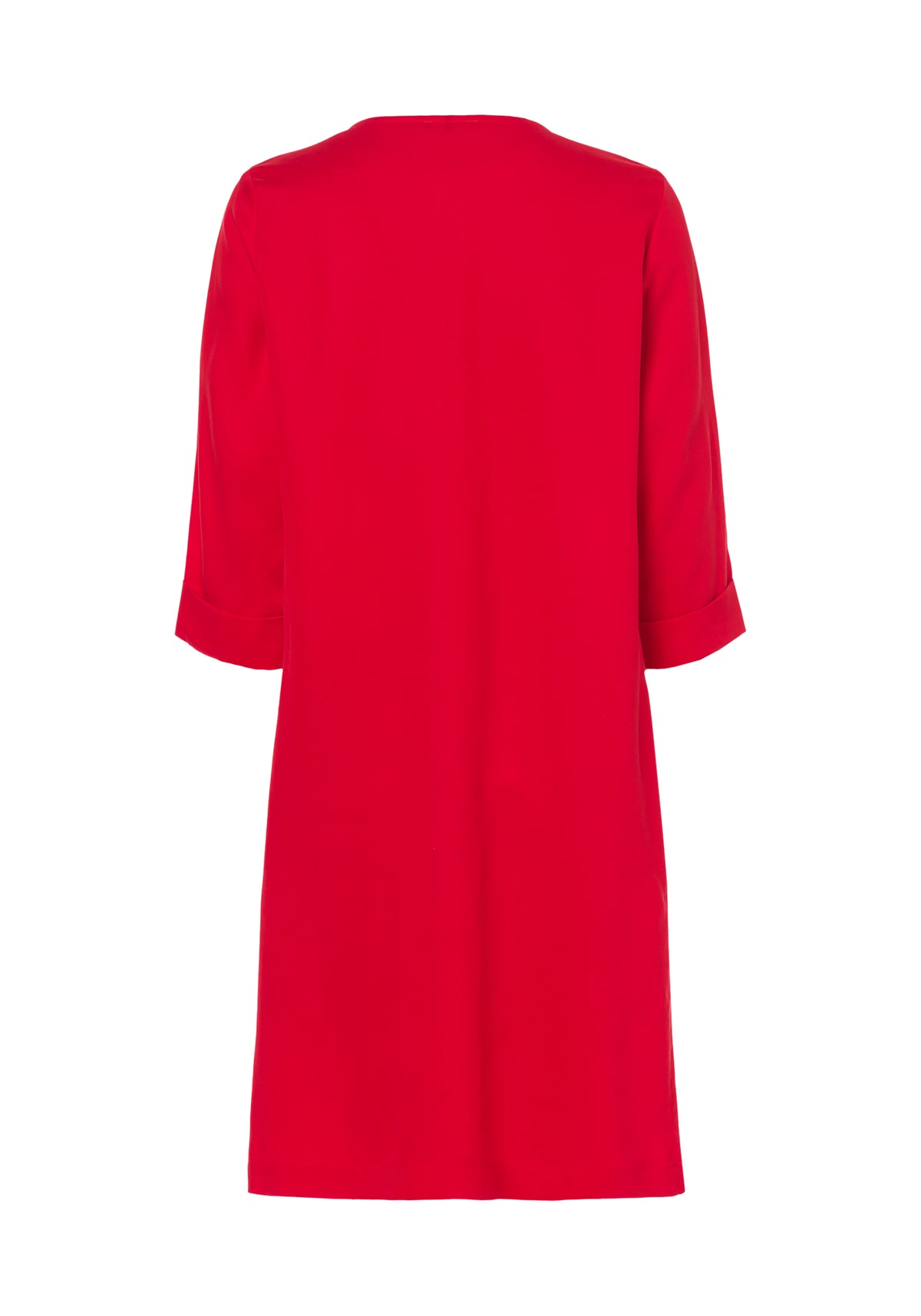 Mid Sleeve V-Neck Dress with Single Front Pleat
