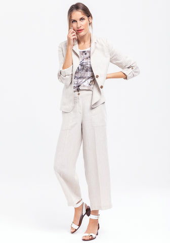 Anna Fit Linen Wide-Leg Cropped Trousers