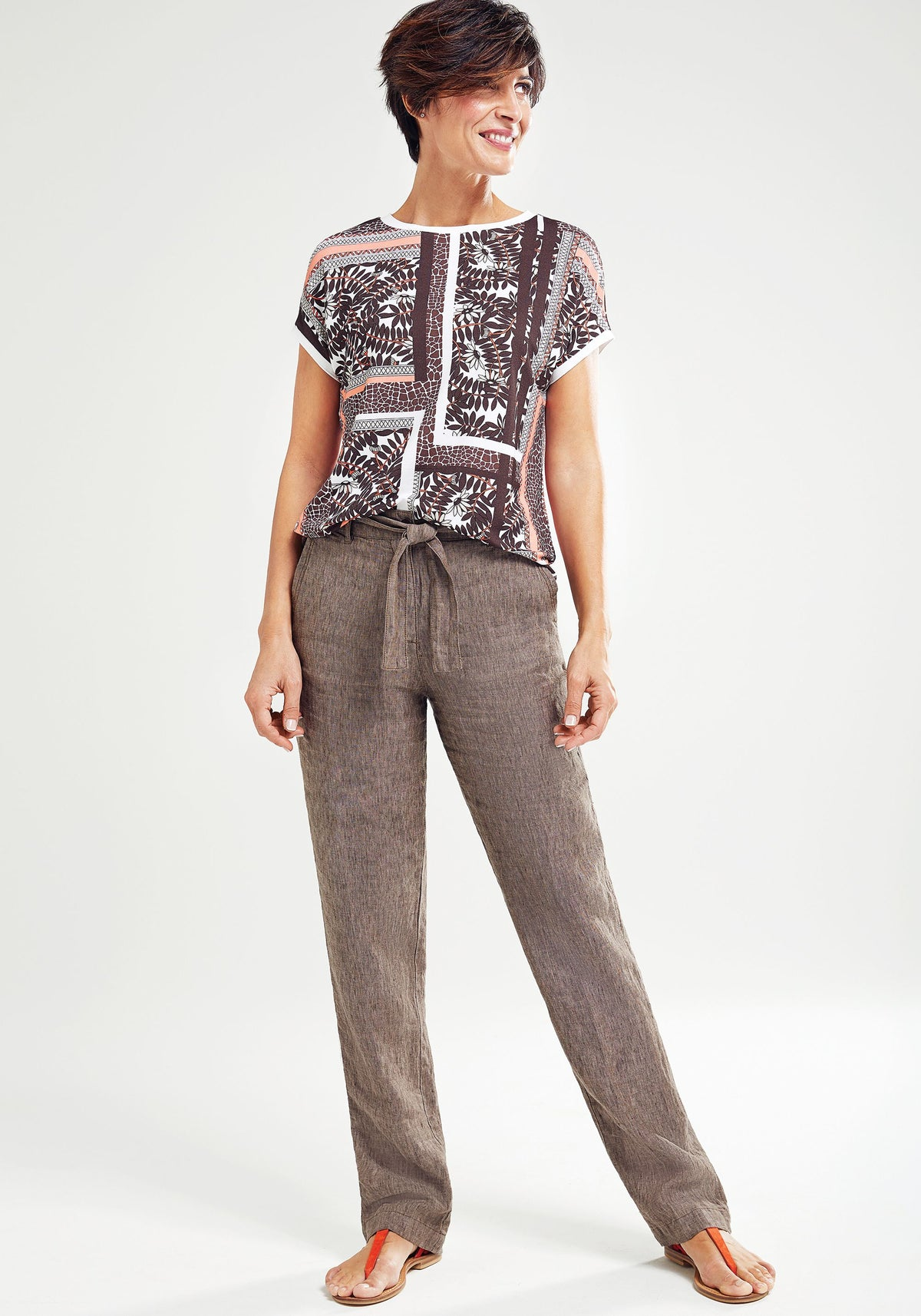 Mona Fit Straight Leg 100% Linen Trousers