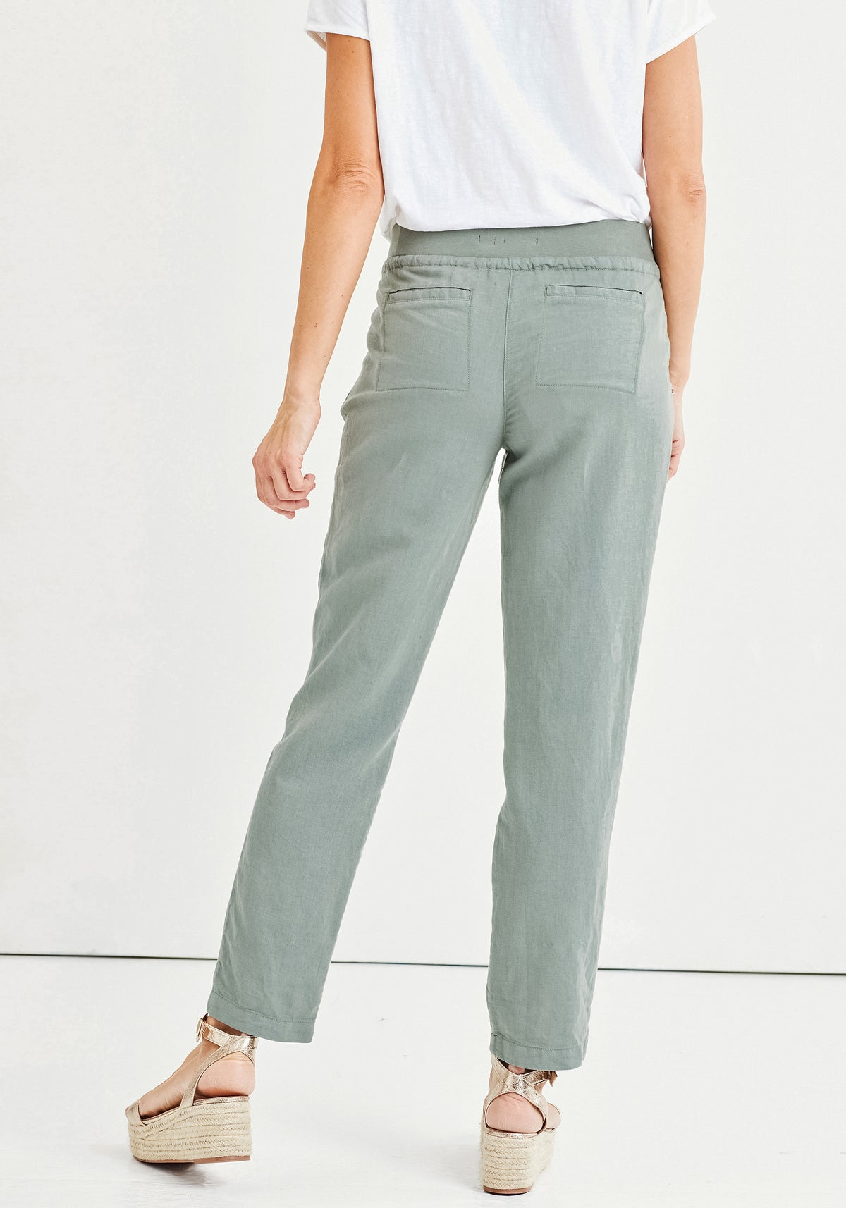 Lisa Fit Straight Leg Cropped Trousers with Elastic & Drawstring Waistband