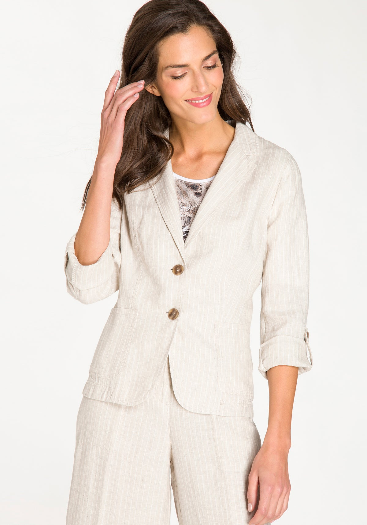 Linen Blazer with Roll Tab Sleeves