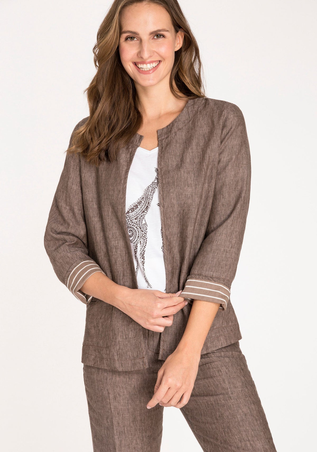 100% Linen 3/4 Sleeve Jacket with Contrast Lining