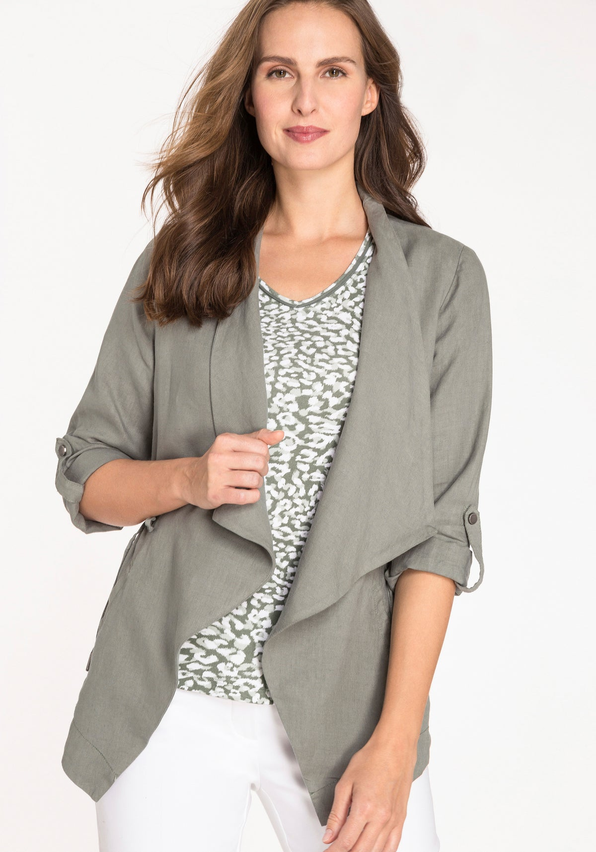 100% Linen Drape Collar Long Sleeve Jacket with Drawstring Waist & Roll Tab Sleeve Detail
