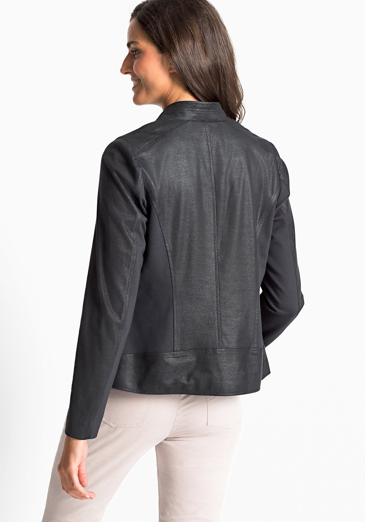 Tonal Micro Reptile Finish Zip Front Moto Jacket with Pockets