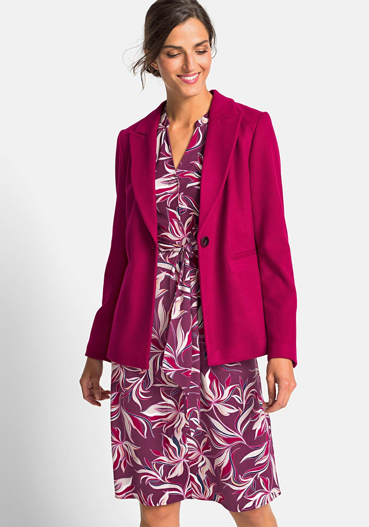 Long Sleeve Notched Collar Stretch Cord Blazer with Pockets