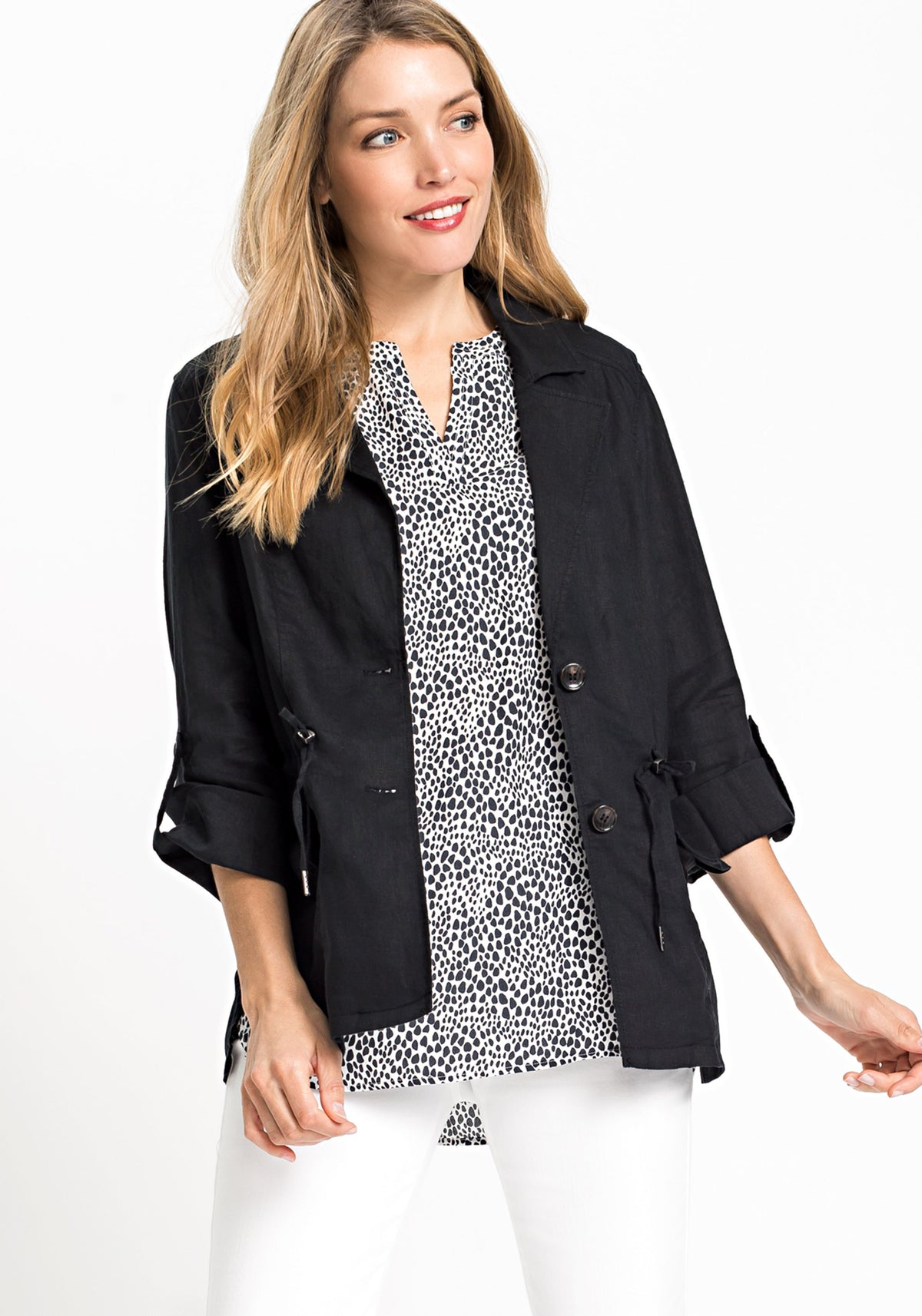 100% Linen Long Sleeve Blazer with Drawstring Waist and Roll Tab Sleeve Detail
