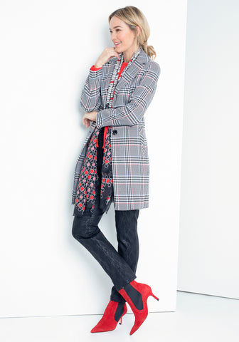 Houndstooth Plaid Coat