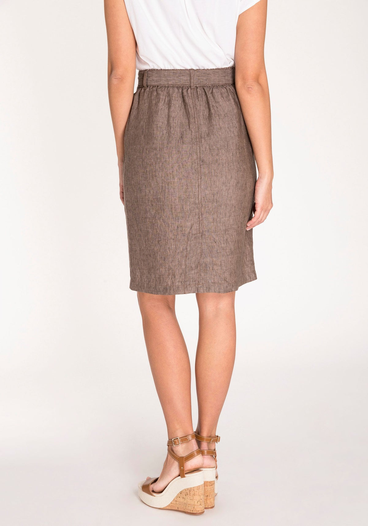 100% Linen Skirt with Waist Tie