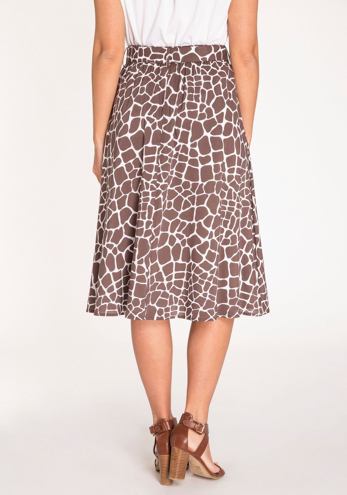 Giraffe Print Midi Length A-Line Skirt with Waist Tie & Front Button Closure